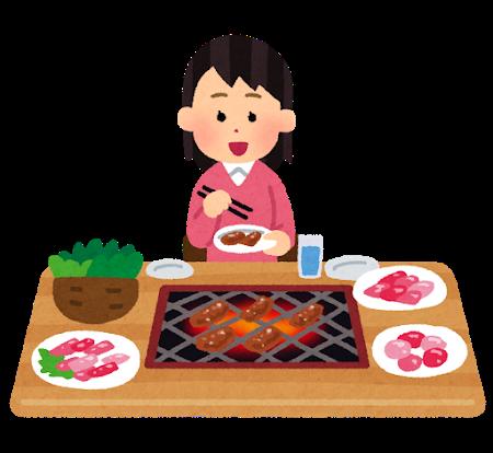 焼き肉を食べる
